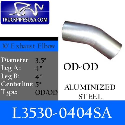 "L3530-0404SA 3.5"" 30 Degree Exhaust Elbow 4"" x 4"" OD-OD Aluminized"