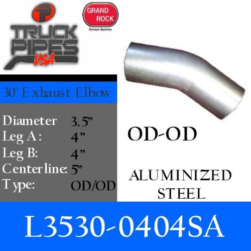 "L3530-0404SA 3.5"" 30 Degree Exhaust Elbow 4"" x 4"" OD-OD Aluminized L3530-0404SA"