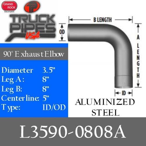 "3.5"" 90 Degree Exhaust Elbow 8"" x 8"" ID-OD Aluminized L3590-0808A"