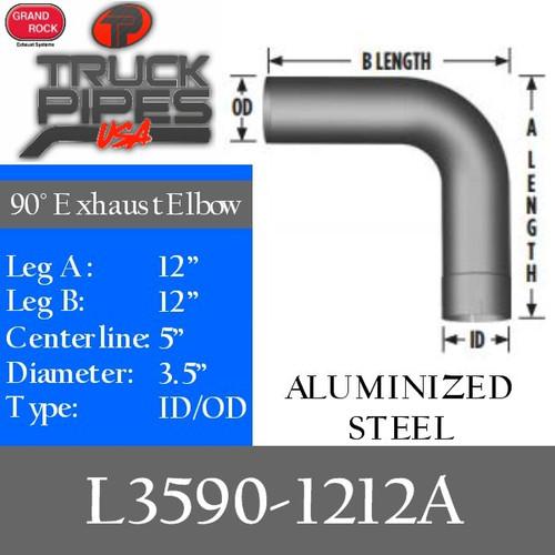"3.5"" 90 Degree Exhaust Elbow 12"" x 12"" ID-OD Aluminized L3590-1212A"