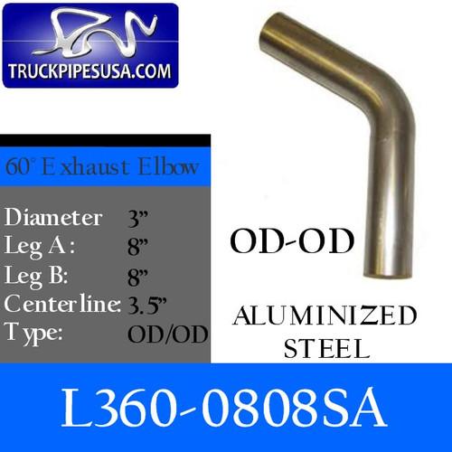 "3"" 60 Degree Exhaust Elbow 8"" x 8"" OD-OD- Aluminized L360-0808SA"