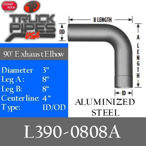 "L390-0808A 3"" 90 Degree Exhaust Elbow 8"" x 8"" ID-OD Aluminized"