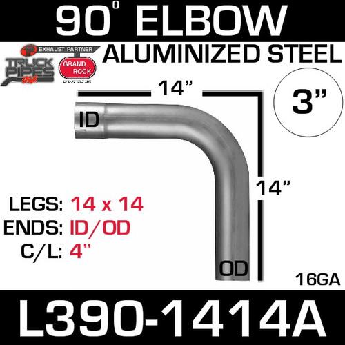 "3"" 90 Degree Exhaust Elbow 14"" x 14"" ID-OD Aluminized L390-1414A"