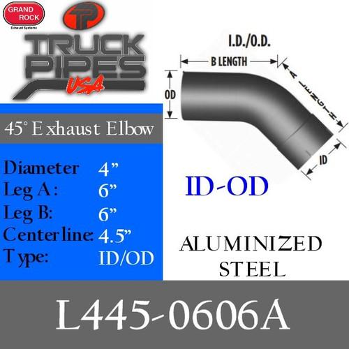 "4"" Exhaust Elbow 45 Degree 6"" x 6"" Aluminized ID-OD L445-0606A"