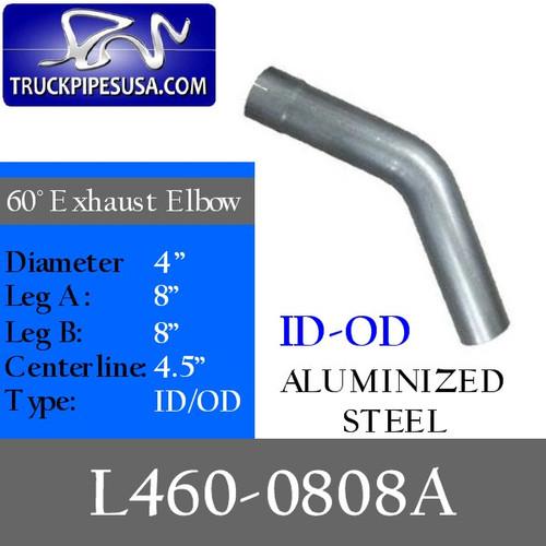 "4"" Exhaust Elbow 60 Degree 8"" x 8"" Aluminized ID-OD L460-0808A"