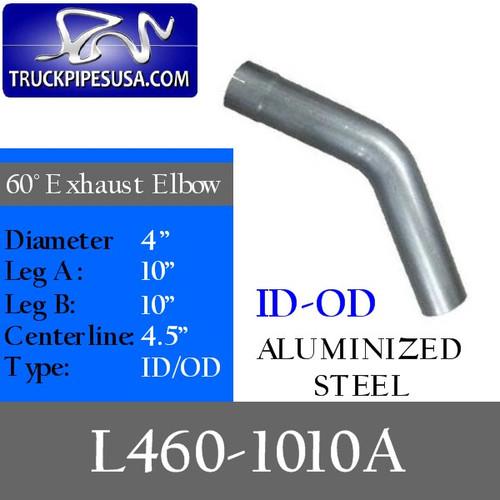 "4"" Exhaust Elbow 60 Degree 10"" x 10"" Aluminized ID-OD L460-1010A"