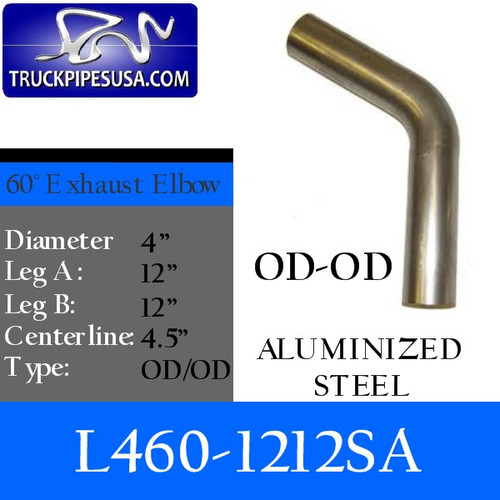 "4"" Exhaust Elbow 60 Degree 12"" x 12"" Aluminized OD-OD L460-1212SA"