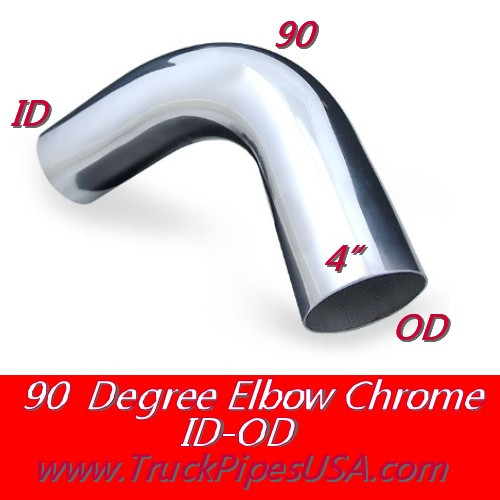 "L490-0808C 4"" Chrome Exhaust Elbow 90 Degree 8"" x 8"" OD-ID"