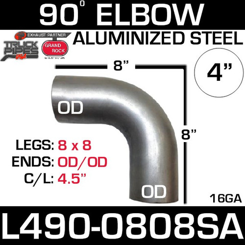"4"" Exhaust Elbow 90 Degree 8"" x 8"" OD-OD Aluminized L490-0808SA"