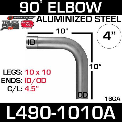 "4"" Exhaust Elbow 90 Degree 10"" x 10"" ID-OD Aluminized L490-1010A"