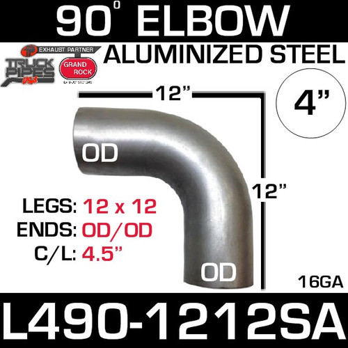 "4"" Exhaust Elbow 90 Degree 12"" x 12"" OD-OD Aluminized L490-1212SA"