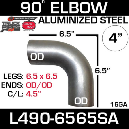 "4"" Exhaust Elbow 90 Degree 6.5"" x 6.5"" OD-OD Aluminized L490-6565SA"