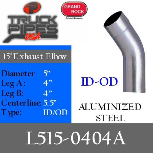 "5"" 15 Degree Exhaust Elbow 4"" x 4"" ID-OD Aluminized L515-0404A"