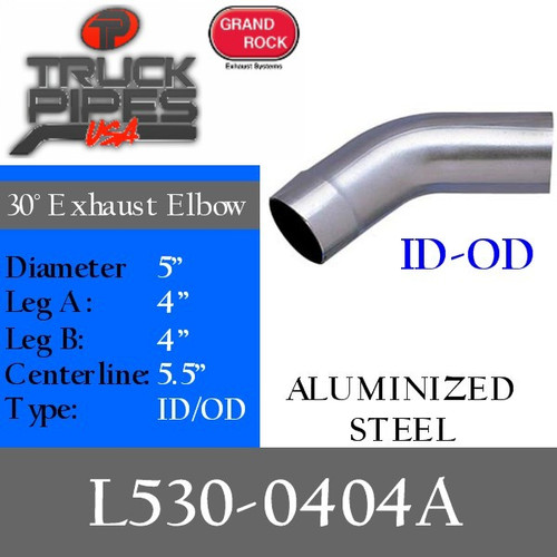 "5"" 30 Degree Exhaust Elbow 4"" x 4"" ID-OD Aluminized L530-0404A"