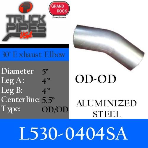 "L530-0404SA 5"" 30 Degree Exhaust Elbow 4"" x 4"" OD-OD Aluminized L530-0404SA"