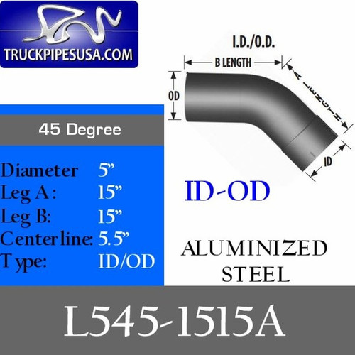 "L545-1515A 5"" 45 Degree Exhaust Elbow 15"" x 15"" ID-OD Aluminized"