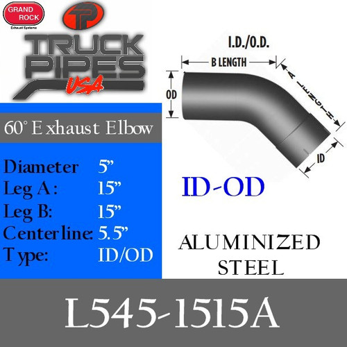 """L545-1515A 5"""" 45 Degree Exhaust Elbow 15"""" x 15"""" ID-OD Aluminized L545-1515A"""