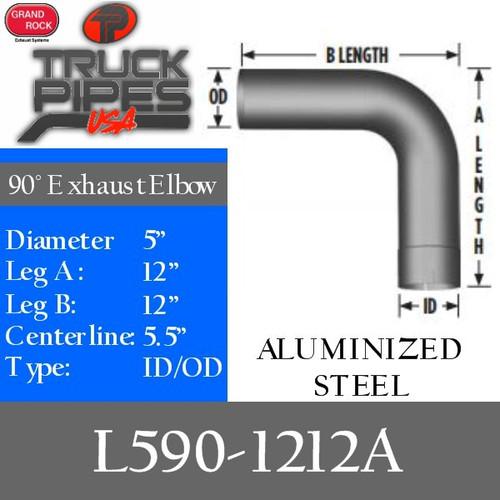 """L590-1212A 5"""" 90 Degree Exhaust Elbow 12"""" x 12"""" ID-OD Aluminized L590-1212A"""