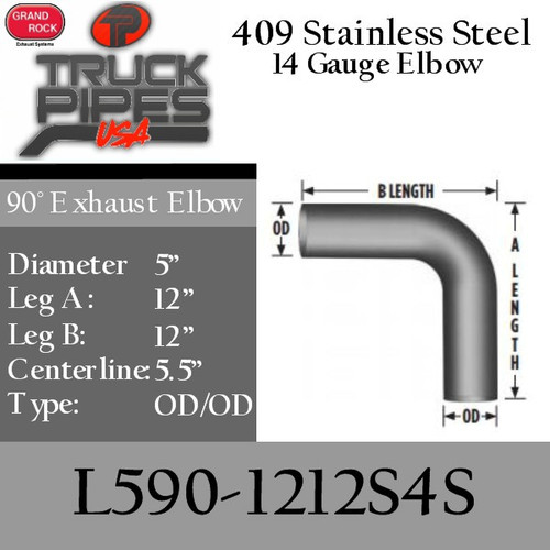 "5"" 90 Degree Exhaust Elbow 12"" x 12"" OD-OD- 409 Stainless Steel L590-1212S4S"