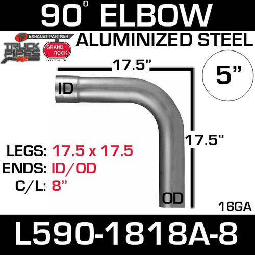"5"" 90 Degree Aluminized Elbow 17.5"" Legs ID-OD W-8"" C/L L590-1818A-8"