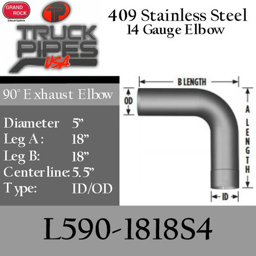 "5"" 90 Degree Exhaust Elbow 18"" x 18"" ID-OD 409 Stainless Steel L590-1818S4"