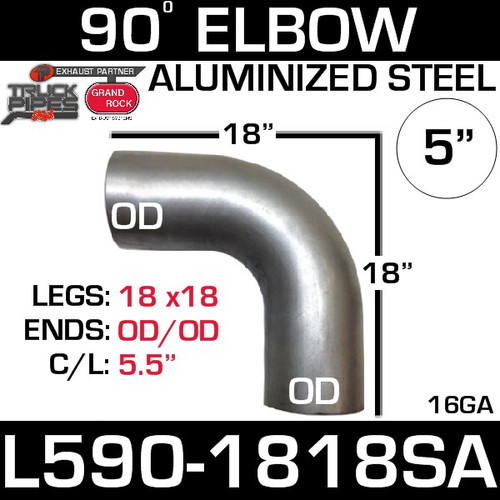 "5"" 90 Degree Exhaust Elbow 18"" x 18"" OD-OD Aluminized L590-1818SA"