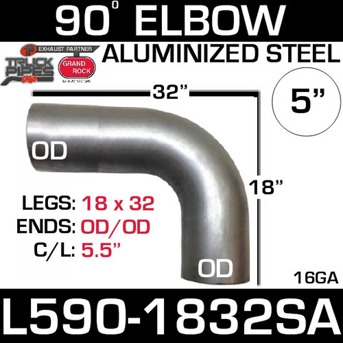 "5"" 90 Degree Exhaust Elbow 18"" x 32"" OD-OD Aluminized L590-1832SA"