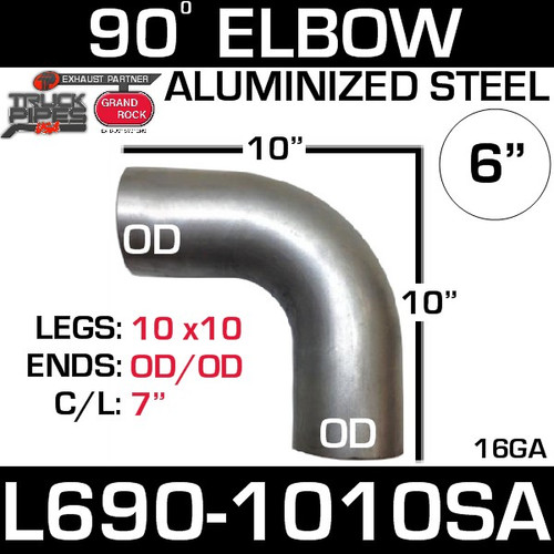 "6"" 90 Degree Exhaust Elbow 10"" x 10"" OD-OD Aluminized L690-1010SA"