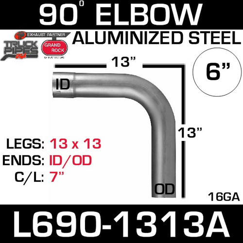"6"" 90 Degree Exhaust Elbow 13"" x 13"" ID-OD Aluminized L690-1313A"