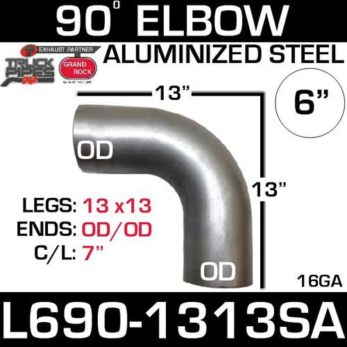 "6"" 90 Degree Exhaust Elbow 13"" x 13"" OD-OD Aluminized L690-1313SA"