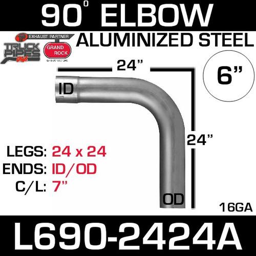 "6"" 90 Degree Exhaust Elbow 24"" x 24"" ID-OD Aluminized L690-2424A"