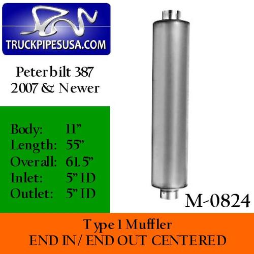 M110824 or M-0824 Resonator Muffler for 387 Peterbilt 2007 and Newer (M-0824)