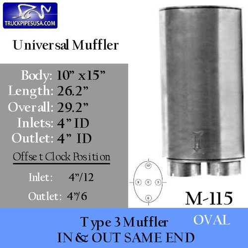 "Type 3 Universal Truck Muffler 10"" x 15"" x 26"" Long 4"" IN-OUT (M-115)"