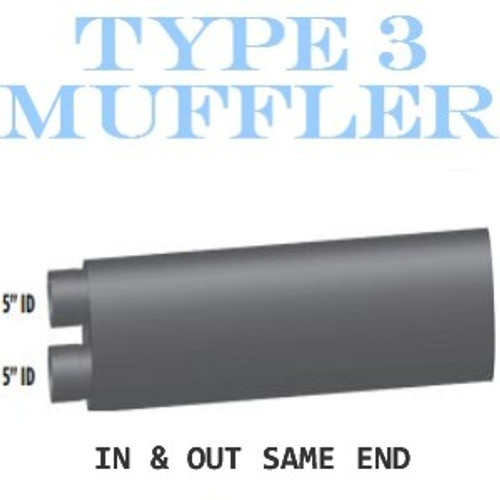 "M-116 Type 3 Oval Muffler 10"" x 15"" x 36"" Long 5"" IN-OUT"