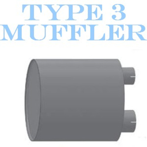 """M-124 Type 3 Oval Muffler 12"""" x 15"""" x 30.3"""" Long 4"""" IN - 5"""" OUT"""