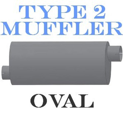 """M-147 Type 2 Oval Thomas Muffler 10 x 15 x 26"""" 5"""" IN-OUT"""
