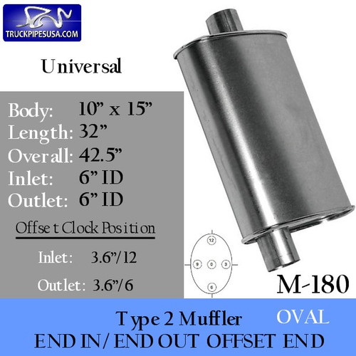 """M-180 Type 2 Muffler 10"""" x 15"""" Oval 32"""" 6"""" IN-OUT"""
