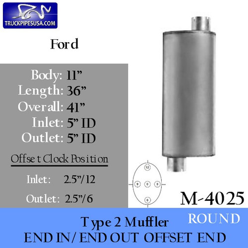 "M-4025 Type 2 Ford or Sterling Muffler 11"" x 36"" 5"" IN-OUT"