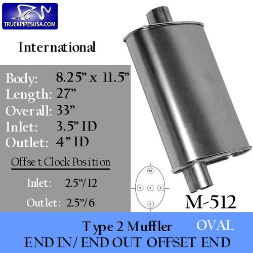 "M-512 Type 2 Muffler for International 8.25"" x 11.5"" 3.5"" IN - 4"" OUT"