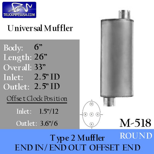 "M-518 Type 2 Muffler 6"" Round x 26"" 2.5"" IN-OUT"