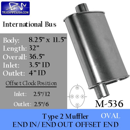 "M-536 Type 2 Muffler International 8.25 x 11.5 Oval 32"" Long 3.5"" IN 4"" OUT"