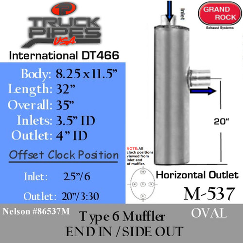 International DT466 Horizontal Outlet Oval Muffler M-537 Type 6