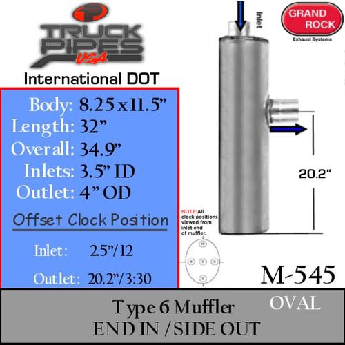 "M-545 International Oval Muffler 8.25 x 11.5 x 32"" M-545 Type 6"