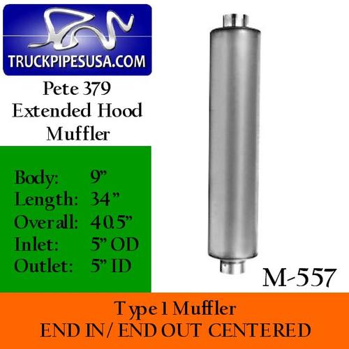 """M-557 Type 1 Muffler 9"""" x 34"""" Peterbilt 379 Extended Hood"""