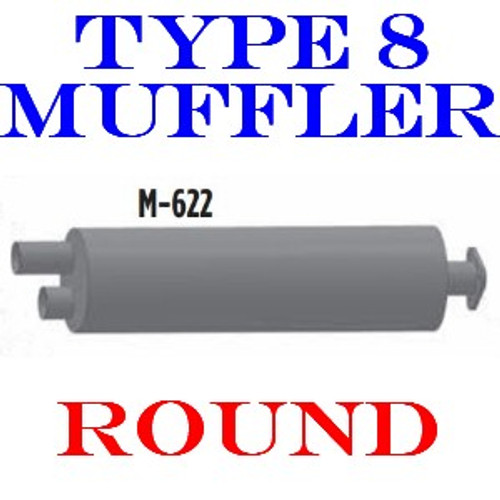 M-622 Type 2A Muffler Dual In-Single Out Flanged for Bluebird Chevrolet-GMC