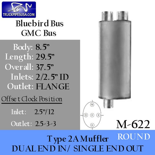 Type 2A Muffler Dual In-Single Out Flanged for Bluebird Chevrolet-GMC