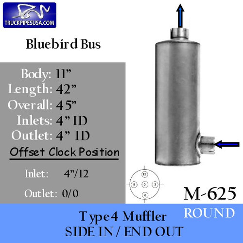"M-625 Type 4 Bluebird Bus Round Muffler 11"" x 42"" 4""IN-OUT"