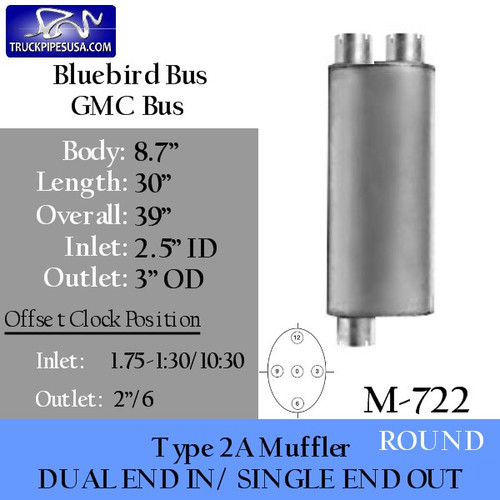 "Type 2A Muffler Bluebird GMC 8.7"" x 30"" 2.5"" IN-3"" OD OUT (M-722)"