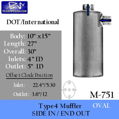 "M-751 International 10"" x 15"" Oval Muffler 4"" Inlet - 5"" Outlet"