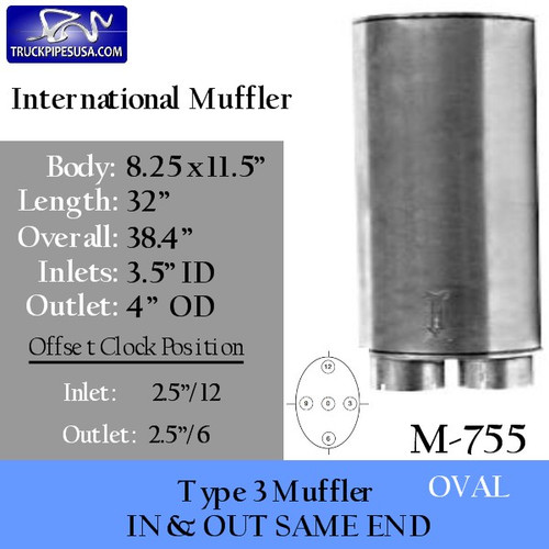 "M-755 Type 3 Oval Muffler 8.25"" x 11.5"" x 32"" 3.5"" IN-4"" OD OUT"